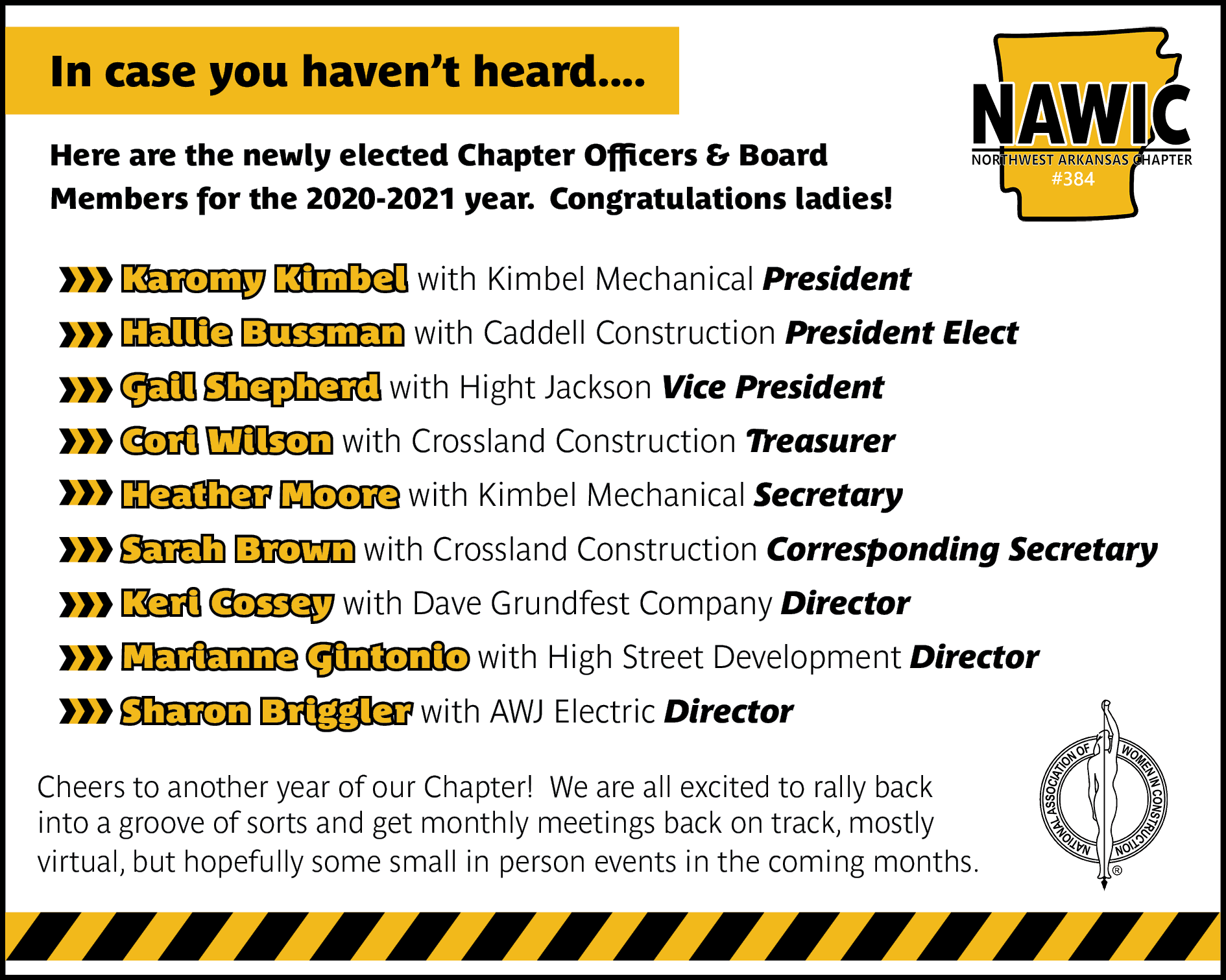 2020-2021 NAWIC Northwest Arkansas Chapter Officers and Board Members